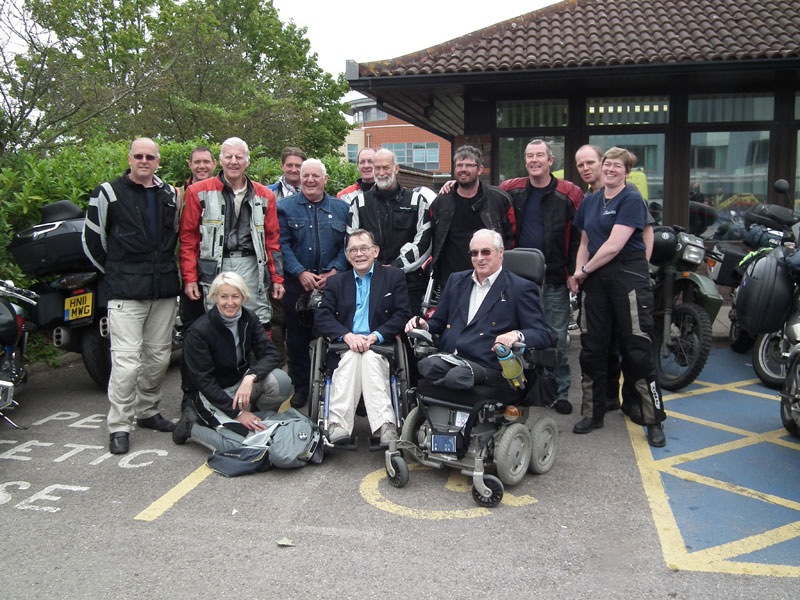 The Wee Riders at Stoke Mandeville with Poppa Guttmann Trustees, Mike Mackenzie and Philip Lewis, and HRH Prince Michael and guests