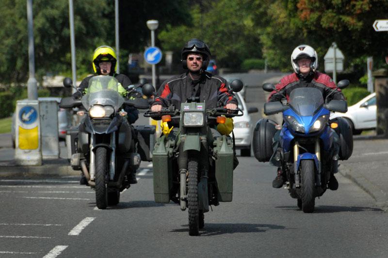 The riders arrive in Kilmarnock