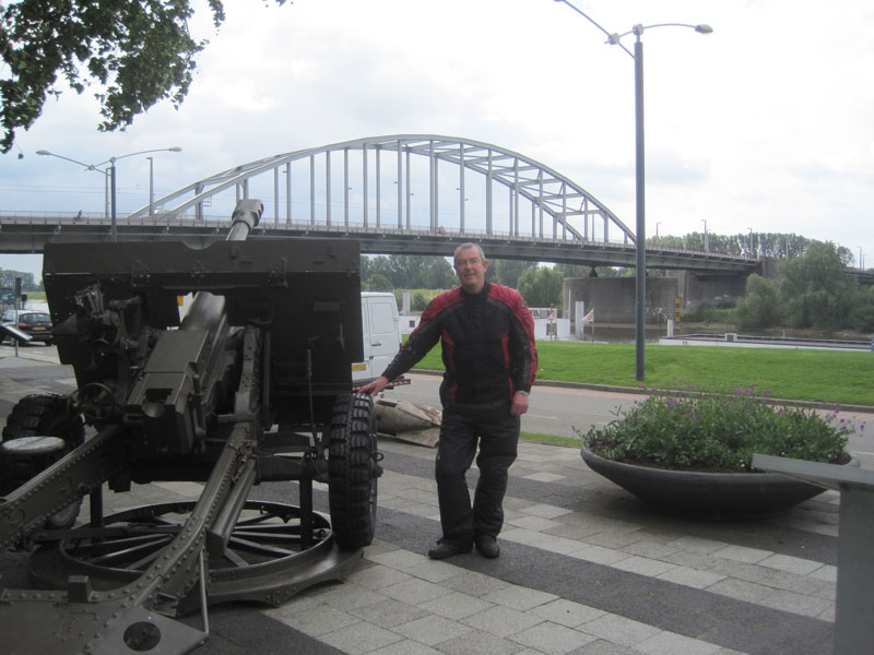 JR poses with WW2 gun at John Frost Bridge, Arnhem