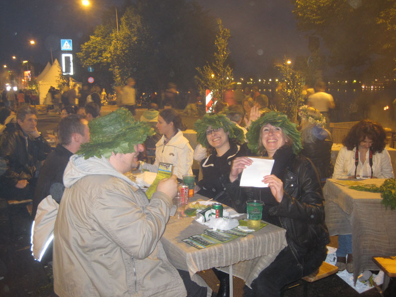 Party goers at Riga's Midsummer Festival