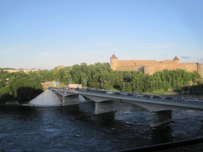 The Narva Friendship Bridge forms the border between Estonia and Russia