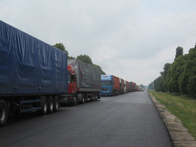 Trucks, trucks, and more trucks, as far as the eye can see - waiting to cross the Ukrainian border with Russia