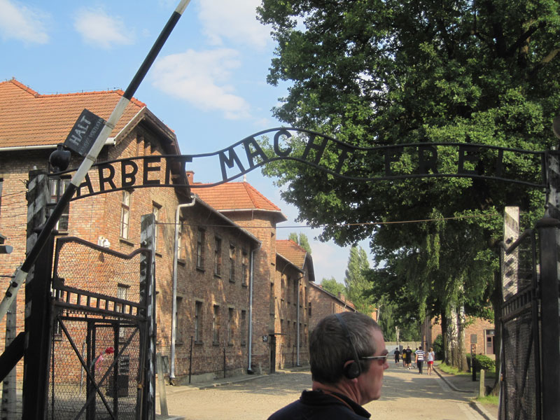 Arbeit Macht Frei ('work makes free') - the cynically worded slogan at the entrance of Auschwitz