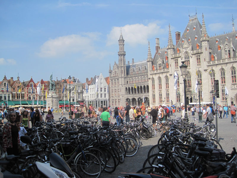 Bicycles parked in the Grote Markt in Bruges